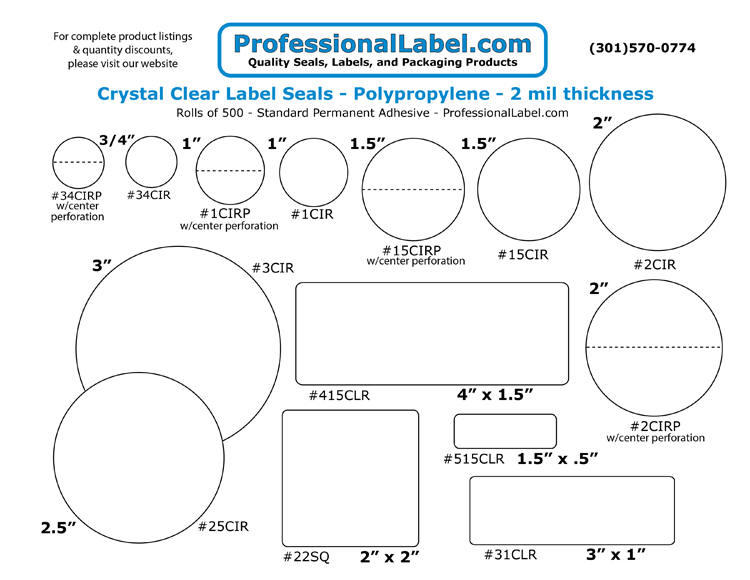 Clear Round Labels Standard Adhesive ProfessionalLabel.com